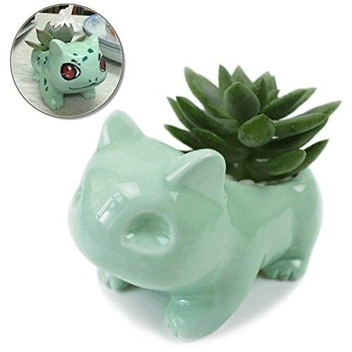 ANFLY Pokemon Pot Bulbasaur Maceta suculenta Pokemon Flower Pot DIY Painting Art Jarrón Plant Pot Tiny