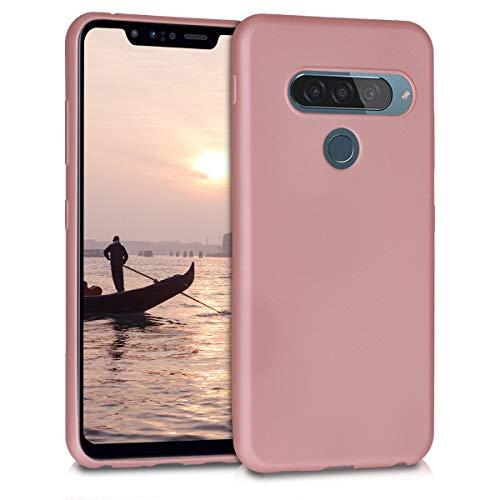 kwmobile Funda Compatible con LG G8s ThinQ - Carcasa móvil de Silicona - Protector Trasero en Oro Rosa Metalizado
