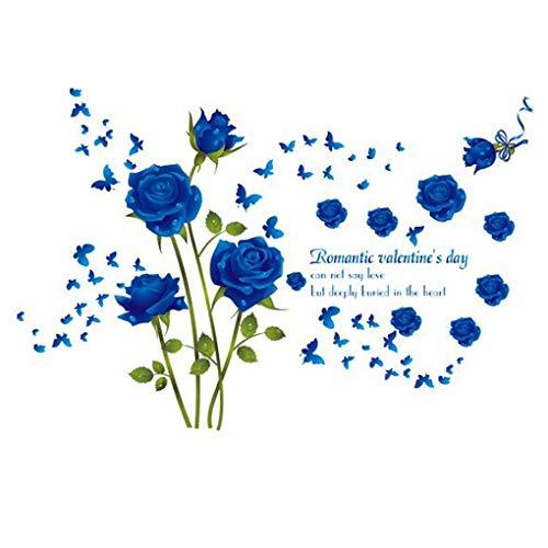 Romantische Bloemen Vlinder Muur Stickers Cartoon Dieren Foto Frames Verwijderbare Behang Home Decor PVC muurschildering Baby Jongens Meisjes Kids Slaapkamer Keuken Decoratie Blue Rose Flowers Butterfly