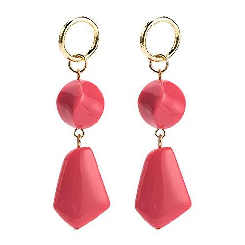 Hogreat Pendientes largos de Europa y Estados Unidos geométricos pendientes exagerados de resina multicapa retro temperamento pendientes con joyas de estilo INS para mujer (color: rojo)