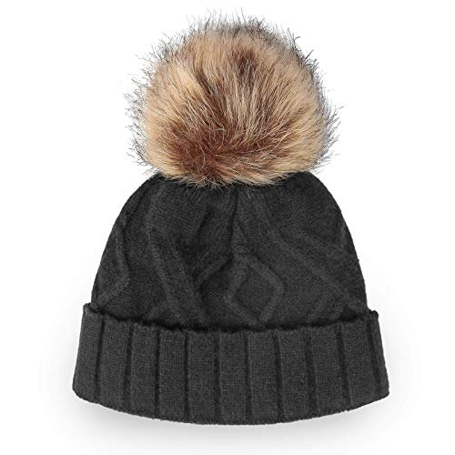 OZERO Womens Winter Hats, Trendy Warm Soft Stretch Knit Beanie with Fuzzy Fleece Linning Pom Pom Hat for Ladies, Gray