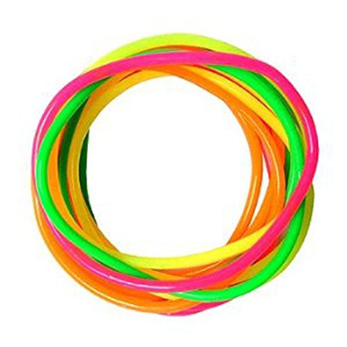 Mytoptrendz® 12-teiliges dünn Gummi Armreif Neon Multi Color Gummy Jelly Bands Armband Armbänder Armreifen Mädchen Fancy Dress Zubehör