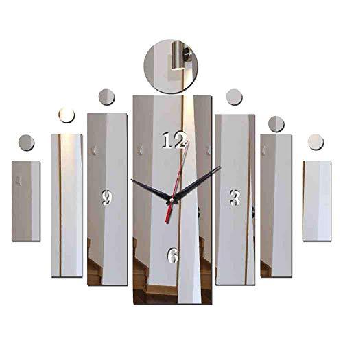 LKNS Muursticker nieuwe hete aankomstwandklok sticker uitgangdecoratie DIY Europa ontwerp spiegel quartz naald klok sticker zilver