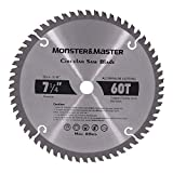 Monster&Master Alloy Saw Blade Cut Aluminum Alloy Sheet, Mainly for Aluminum Profiles, Also for Plastic PVC pipes, 7-1/4-inch x 60T x 5/8-inch, MM-CA-001