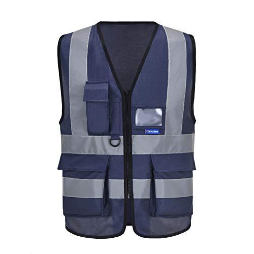Gilet Tecnica da Lavoro antinfortunistici Alta Visibilità (Blu Navy, 3XL)