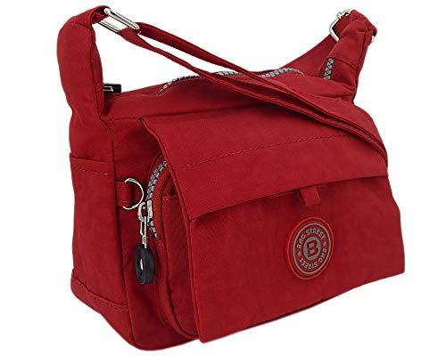 Moderne und zugleich sportliche Damen-Handtasche kleine Umhängetasche aus hochwertigem wasserabwesendem Crinkle Nylon (Rot)