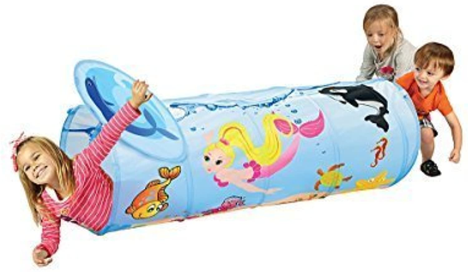 Mermaid Play Tunnel with Carry Case  Indoor Outdoor Pop Up Tunnel by ETNA PRODUCTS
