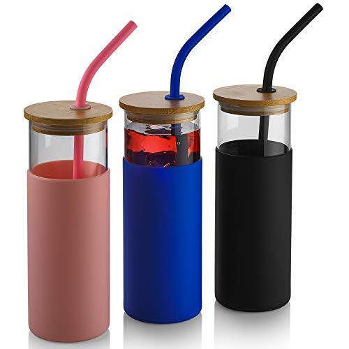 3 vasos de cristal de 530 ml con tapas y pajitas – Vasos de viaje de vidrio rosa/azul/negro con pajita de silicona, funda protectora de silicona, tapa de bambú, cepillo