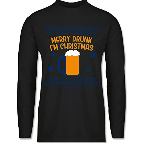Weihnachten & Silvester - Ugly Christmas Merry Drunk I'm Christmas - XL - Schwarz - Tshirt weihnachtsmotiv - BCTU005 - Herren Langarmshirt