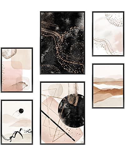 Heimlich Set di Stampe da Parete - Senza Cornici - Decorazioni da Muro per Soggiorno, Camera da Letto e Cucina - Poster Abbinati - 2 x A3 & 4 x A4-30x42 & 21x30 | » Acquerello Astratto Oro II «