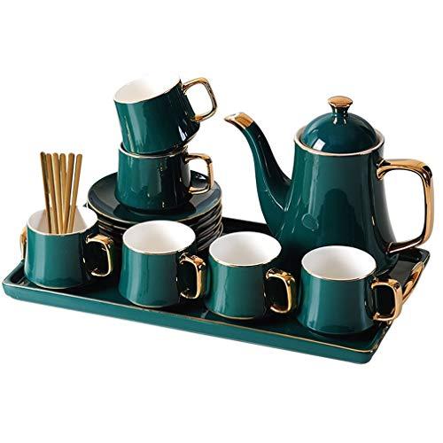ANXI keramische thee-maker handwerk porselein thee set met prachtige gouden rand theepot lade en theekopjes schotel theepotjes set van 6, voor middag thee partij