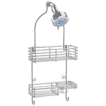 SMARTAKE Hanging Shower Head Caddy Rustproof Bathroom Shower Shelf Organizer SUS201 Stainless Steel Storage Rack for Toilet Bathroom and Shower Room Silver