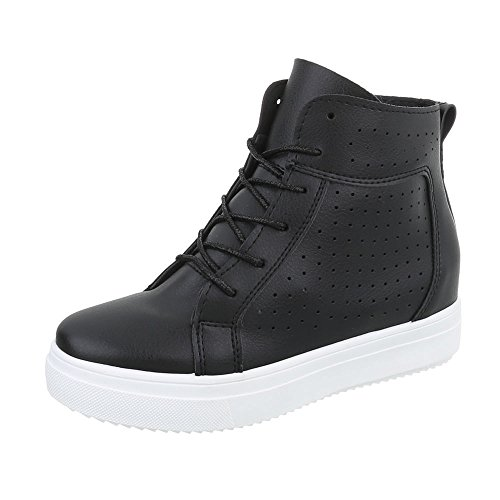 Ital-Design Sneakers High Damen-Schuhe Sneakers High Keilabsatz/Wedge Keilabsatz Schnürsenkel Freizeitschuhe Schwarz, Gr 38, Nb53P-