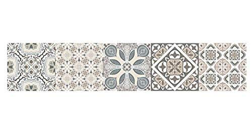 JUSTDOLIFE muurtegelstickers impregneren zelfklevende vintage patroon muur kunststicker Multicolor E