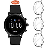 Suoman 3-Pack for Fossil Gen 5 Carlyle Case, All-Around Protective TPU Bumper Cover Screen Protector Case for Fossil Gen 5 Carlyle Smartwatch (Not Fit for Julianna) - Clear+Clear+Clear