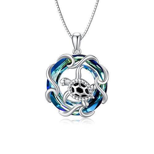 TOUPOP Sea Turtle Necklace Strling Silver Ocean Wave Pendant Necklace Blue Circle Crystal Beach Fashion Jewelry Gifts for Women Teen Girls Friend Birthday Christmas