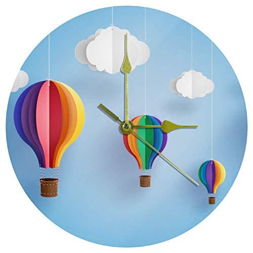 EZIOLY Acryl-Wanduhr Origami aus buntem Heißluftballon, 25,4 cm, leise, nicht tickend, Quarz, batteriebetrieben, unskaliert, runde Wanduhr, dekorativ für Zuhause, Büro, Schule