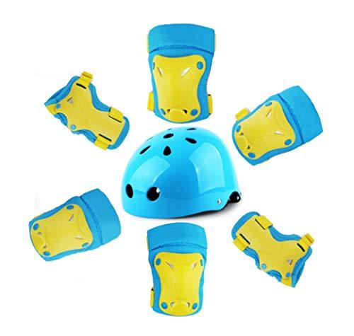 Yx-Outdoor - Juego de casco de protección para niños, para patinaje sobre hielo, bicicleta, patines, monopatín, anticaída, juego de siete piezas, con casco, azul, S
