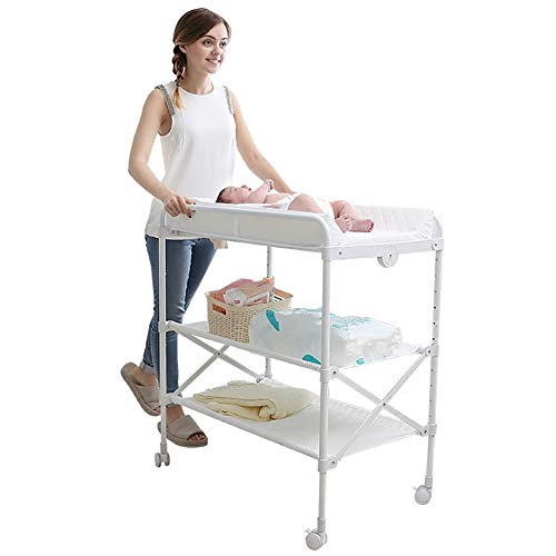 SSZY Portable Adjustable Height Baby Changing Table with Wheels, Waterproof Folding Diaper Changing Station Nursery Organizer, White