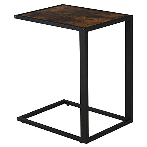 HOMCOM Industrial C-Shape Side Table w/Steel Frame Wide Base Foot Pads Vintage Home Furniture Compact End Desk Bedroom Living Room