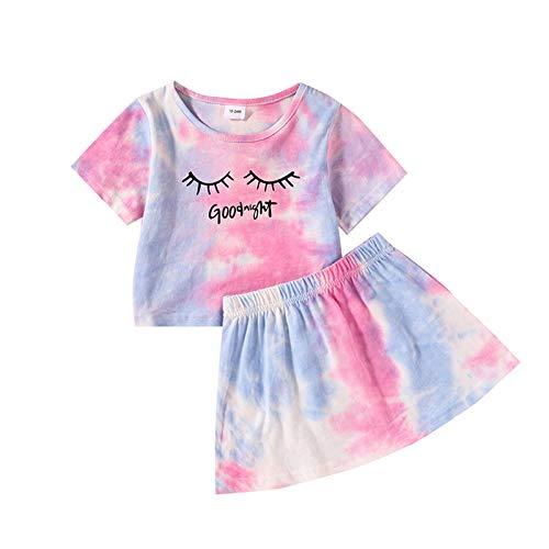 L&ieserram Ropa de niña para bebé, juego de 2 piezas, camiseta estampada con pestañas y letras de manga corta + falda primaveral, verano, otoño turquesa 4-5 Years