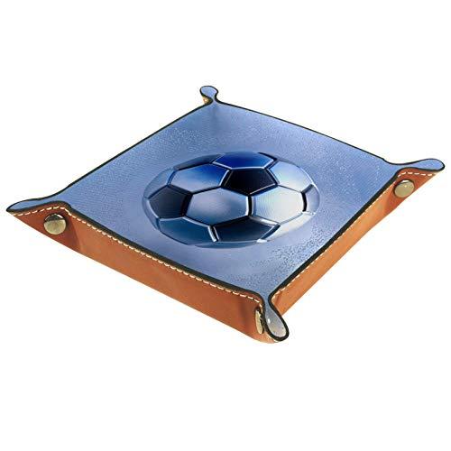 Caja de almacenamiento pequeña, bandeja de valet para hombre,Fútbol plata negro metalizado ,Organizador de cuero para llaves de caja de monedas