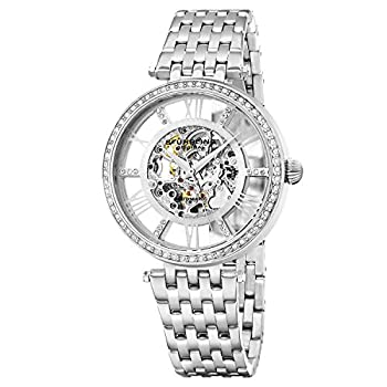 Stuhrling Original Womens Dress Watch - Skeleton Watch Self Winding Automatic Watch Mechanical Wrist Watches for Woman with Stainless Steel braclet Delphi Ladies Watches  Silver
