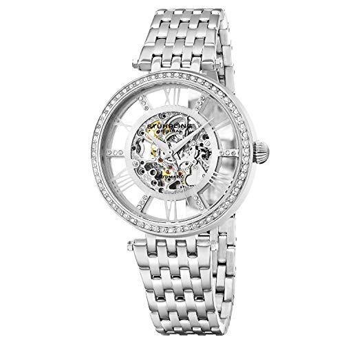Stuhrling Original Womens Dress Watch - Skeleton Watch Self Winding Automatic Watch Mechanical Wrist Watches for Woman with Stainless Steel braclet Delphi Ladies Watches (Silver)