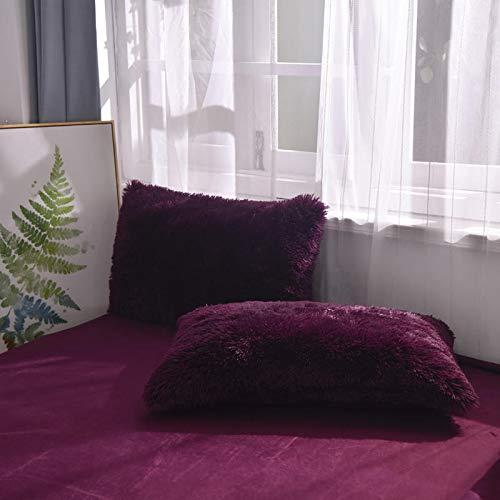 Soukach 2PC Fluffy Shaggy Pillowcase Faux Fur Pillow Case,Cozy Shaggy Plush Pillow Shams,Furry Crystal Velvet Pillow Cover,Luxury Long Fleece Decorative Pillowcases (Plum Purple, Queen/Standard)