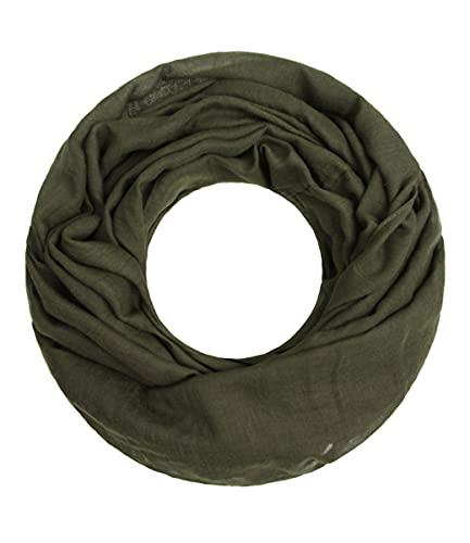 Majea Loop Cary Basic Schal Tuch Damen-schal Schlauchschal Rundschal Halstücher uni unifarben Loopschal einfarbig (dark olive 1)