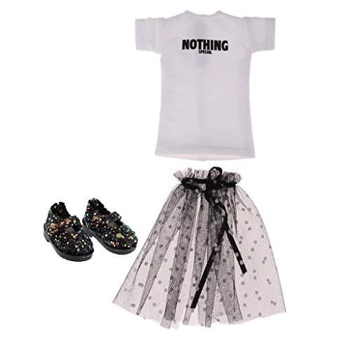 Modische Puppenkleidung Weißes T-Shirt + Schwarz Rock + Pailletten Schuhe Outfit Set Für 1/6 Blythe Puppen