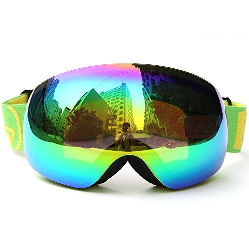 Lixada Winter-Skibrille UV400-Schutz Zweilinsige Snowboardbrille Sphärische Skating Skifahren Sportbrille Abnehmbare Skibrille (A - Grün -7,5 × 4,3 Zoll)