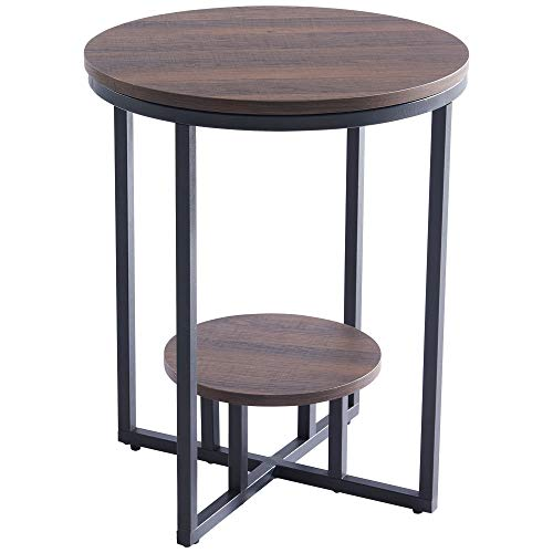 Industrial End Table, 2-Tier Round Side Accent Table with Storage Shelf and Metal Frame, Rustic Wooden CRGHS Nightstand, for Living Room Bedroom Balcony Family and Office
