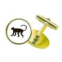 黒猿動物の描写 スタッズビジネスシャツメタルカフリンクスゴールド