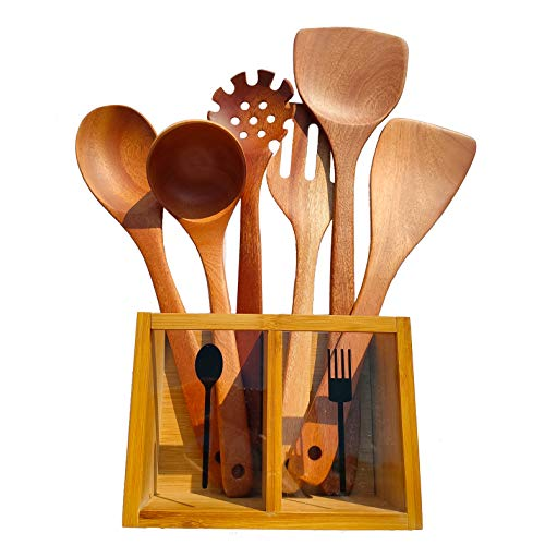 Customized Solid Wood Kitchen Utensils Set With Bamboo Holder Cooking Tool Spatulas and Spoons Wooden Caddy for Nonstick Cookware Vintage Handmade Large Long Handle Free Engraved Accessories Set of 6