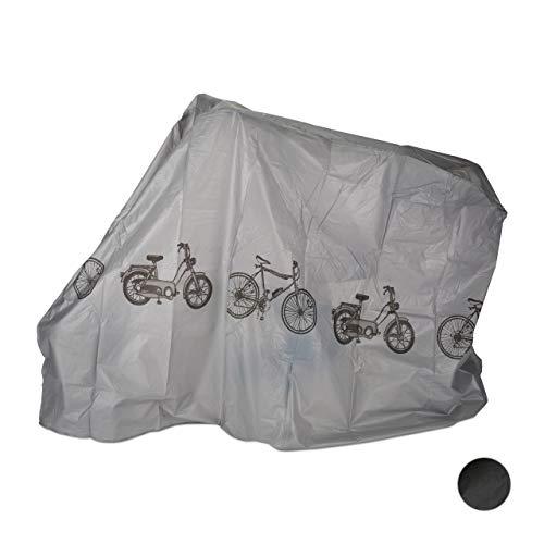 Relaxdays Funda para bicicleta, Funda protectora, Protección solar, Cubierta, Polietileno, 200 x 115 cm, Gris