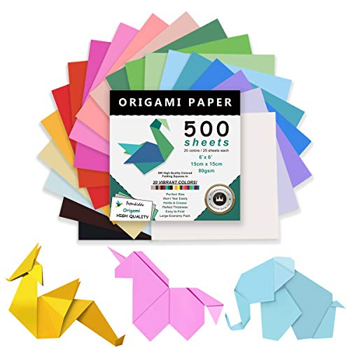 PAPERKIDDO Origami Paper 500 Sheets, 20 Vivid Colors Double Sided 6 Inch Square Easy Fold Paper for Beginner, Premium Quality for Arts and Crafts