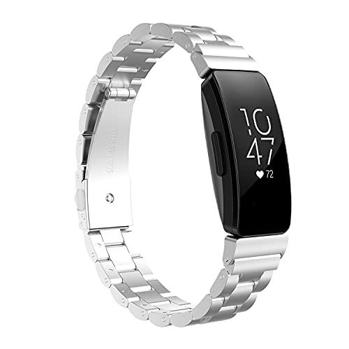 HPTQJ Correa de Reloj Inteligente, Correa de liberación rápida de Acero Inoxidable para Mujeres para Hombre, muñequeras de Reloj Inteligente Regalo cálido (Color : Silver)