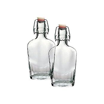 Bormioli Rocco Fiaschetta Glass 8.5 Ounce Pocket Flask Set of 2