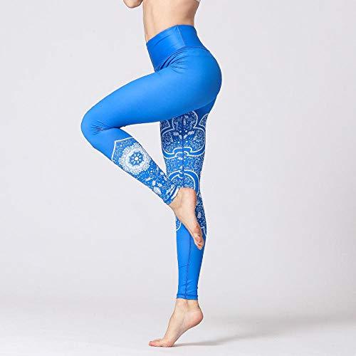 Damen Leggings Fitness Yoga Hosen Schlank Hohe Taille Sport Leggings Vintage Gym Mädchen Elastisch Bedruckte Strumpfhose Laufen Joggen Bauch Kontrolle -D_M