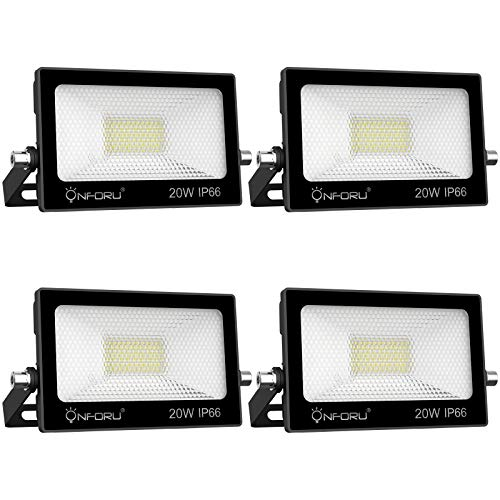 Onforu 4 Pack 20W LED Floodlight Outdoor, 2000LM 6000K Super Bright Daylight White Flood Light, IP65 Waterproof LED Security Lights, LED Spot Lights for Garden, Garages, Rooftop, Backyard, Warehouse