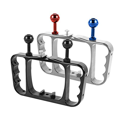 Soporte de buceo de doble brazo para buceo, soporte para linterna, soporte estabilizador para cámara de acción Gopro, repuestos para teléfono inteligente, soporte para cámara (color: negro)