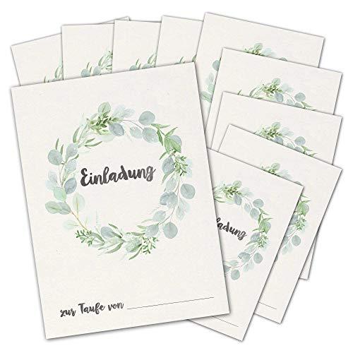 Einladungskarten zur Taufe | 10 Karten zum Ausfüllen und Beschriften für Mädchen und Jungen | DIN A6 Einladung zur Taufe Eukalyptus