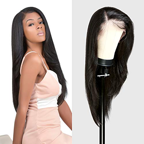 The Stylist HD LACE Front Wig 13X6 Deep Transparent Lace Frontal Wigs 28 Inch Human Hair Blend Pre Plucked Swiss Lace Long Heat Friendly Synthetic Wig - Tastee (Neutral HD Lace, 1B)