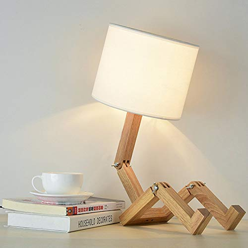 ELINKUME Créatif Robot Lampe de bureau, Réglable peut mettre des livres Bois Lampe de chevet avec la nuance de lampe de tissu Vis E27 Pour les enfants chambre bureau salon Eclairage décoratif