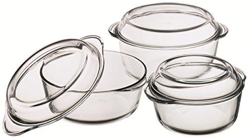 Borcam 6tlg. Auflaufformen Set aus hitzebeständigem Glas
