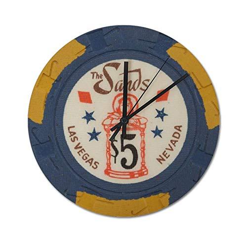 Reloj de pared silencioso, sin garrapatas, 30 x 30 cm, viejas fichas de póquer de Las Vegas, relojes modernos, rústicos, para decoración del hogar