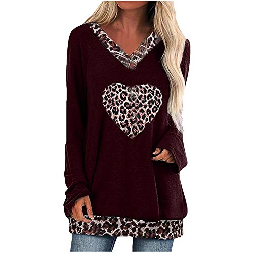 Damen Pullover Liebe T ShirtV Auschnitt Sweatshirt Gestreift Hoodie Pulli Herbst...