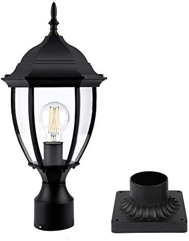 PARTPHONER Outdoor Post Light with Pier Mount Base Waterproof Pole Lantern Light Fixture Exterior product image