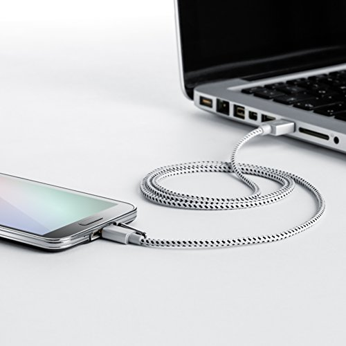 CSL - 3m Micro USB Kabel - 2,4A Schnellladekabel - Nylonkabel Metallstecker - High Speed Ladekabel Datenkabel für Android Smartphones Samsung Galaxy HTC Huawei Sony Nexus Nokia Kindle